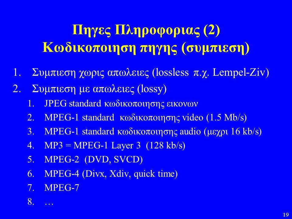 Πηγες Πληροφοριας (2) Κωδικοποιηση πηγης (συμπιεση)