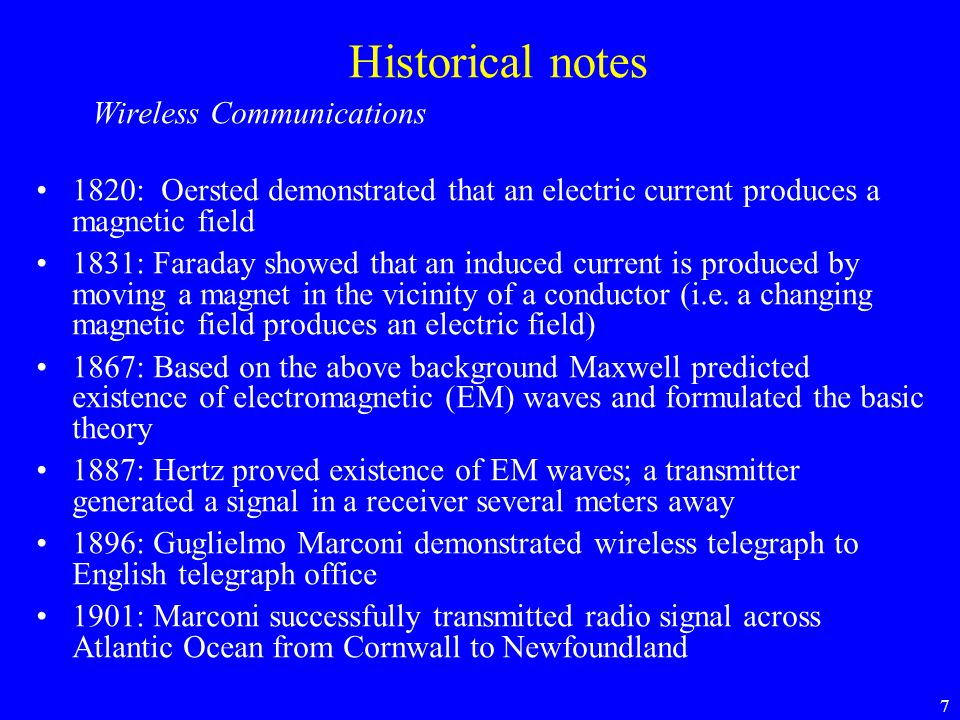 Historical notes Wireless Communications