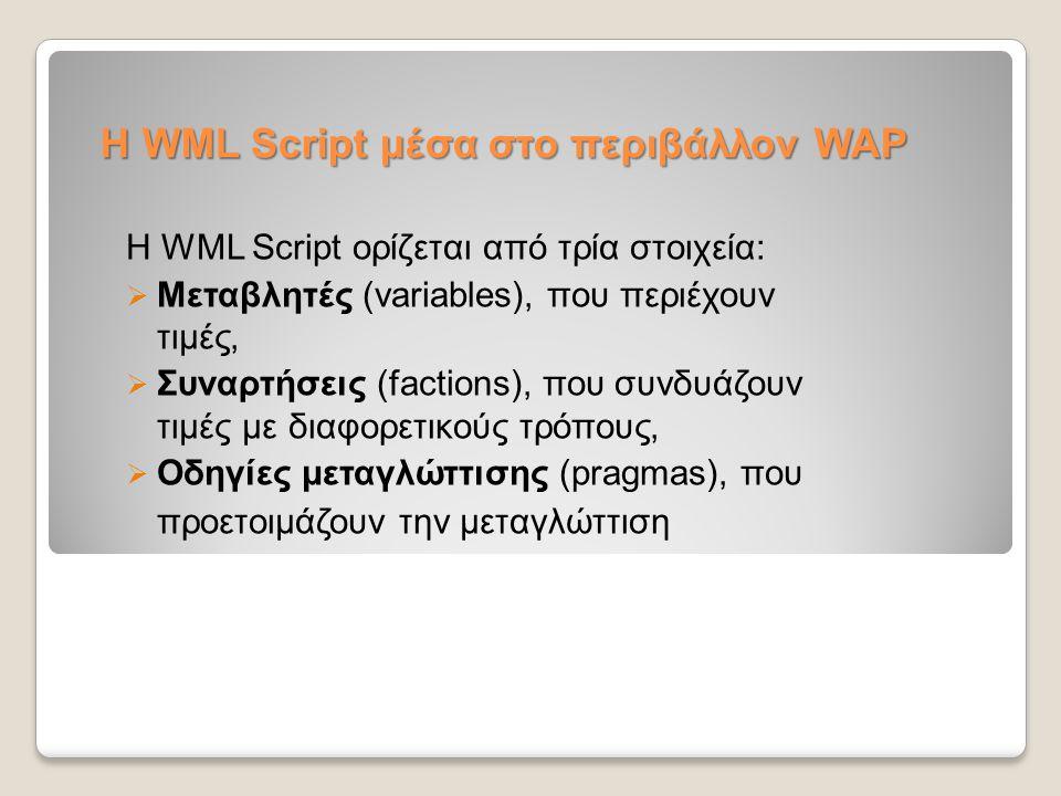 Η WML Script μέσα στο περιβάλλον WAP
