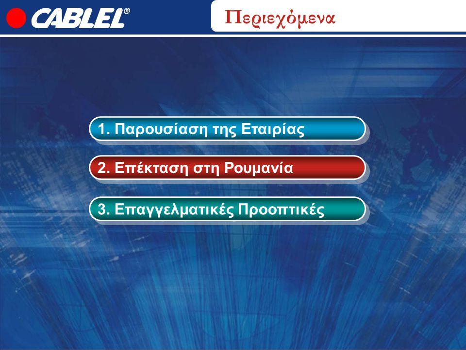 Περιεχόμενα 1. Παρουσίαση της Εταιρίας 2. Επέκταση στη Ρουμανία