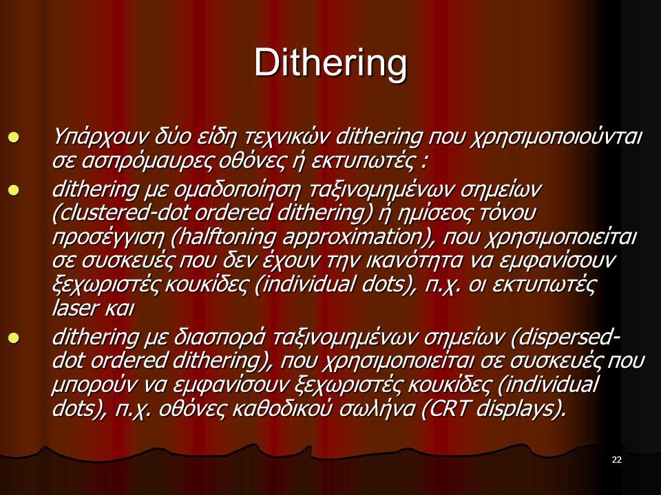 Dithering Υπάρχουν δύο είδη τεχνικών dithering που χρησιμοποιούνται σε ασπρόμαυρες οθόνες ή εκτυπωτές :