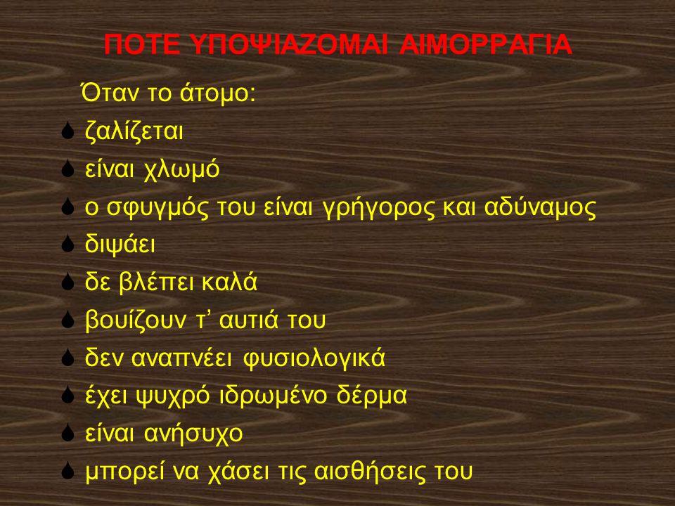 ΠΟΤΕ ΥΠΟΨΙΑΖΟΜΑΙ ΑΙΜΟΡΡΑΓΙΑ