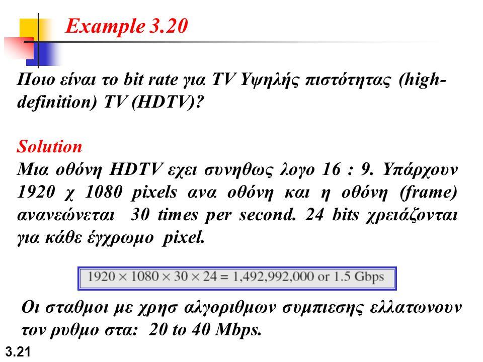 Example 3.20 Ποιο είναι το bit rate για TV Υψηλής πιστότητας (high-definition) TV (HDTV) Solution.