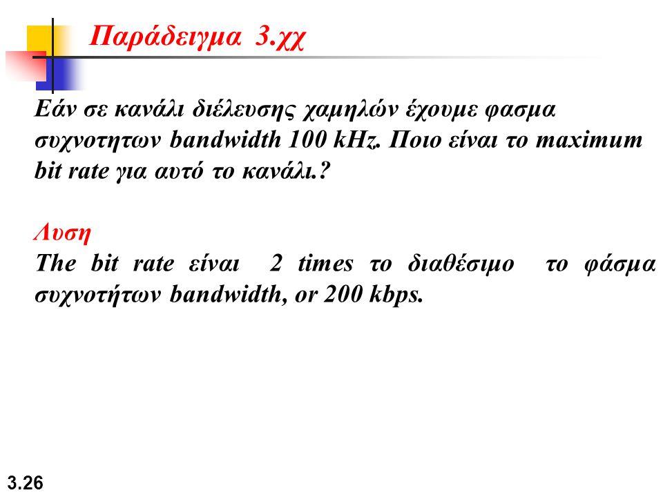 Παράδειγμα 3.χχ Εάν σε κανάλι διέλευσης χαμηλών έχουμε φασμα συχνοτητων bandwidth 100 kHz. Ποιο είναι το maximum bit rate για αυτό το κανάλι.