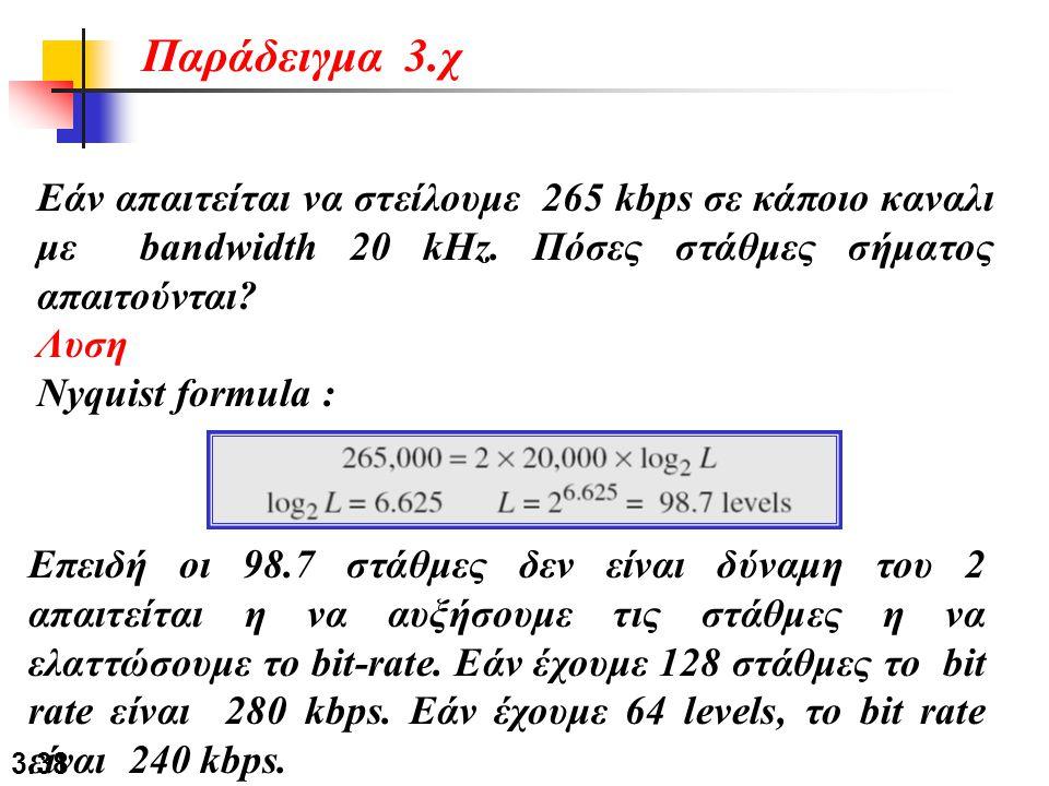 Παράδειγμα 3.χ Εάν απαιτείται να στείλουμε 265 kbps σε κάποιο καναλι με bandwidth 20 kHz. Πόσες στάθμες σήματος απαιτούνται