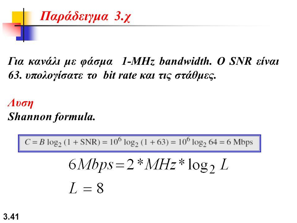 Παράδειγμα 3.χ Για κανάλι με φάσμα 1-MHz bandwidth. Ο SNR είναι 63. υπολογίσατε το bit rate και τις στάθμες.