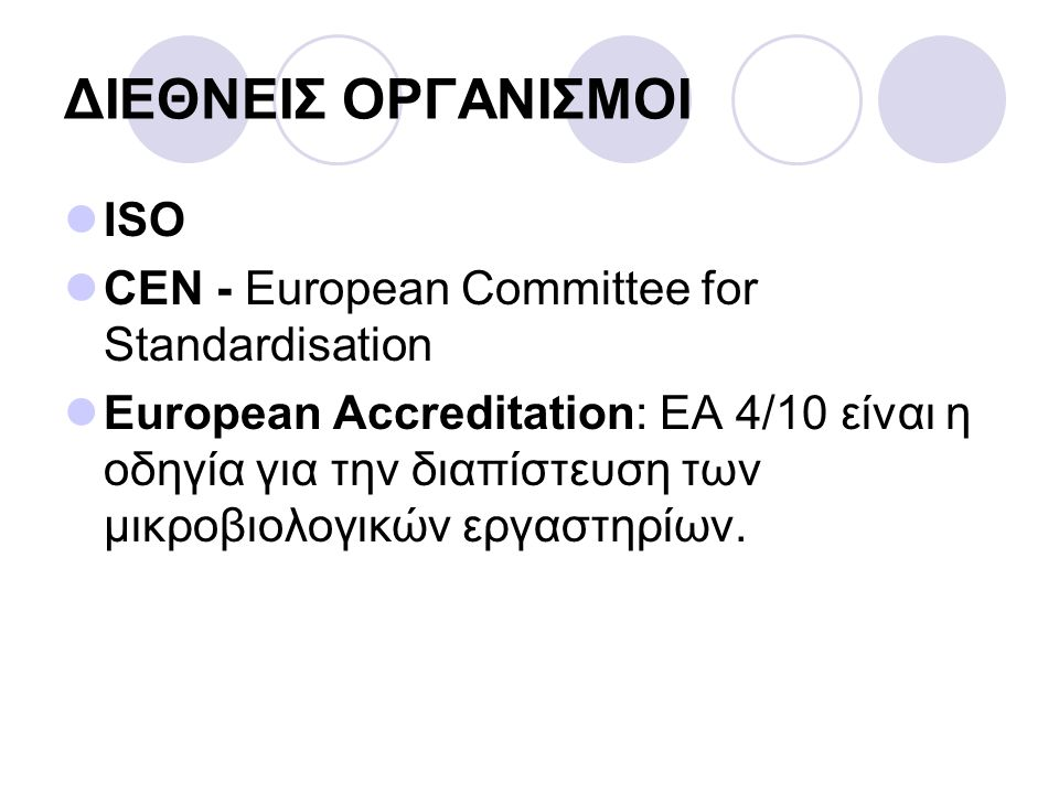 ΔΙΕΘΝΕΙΣ ΟΡΓΑΝΙΣΜΟΙ ISO CEN - European Committee for Standardisation
