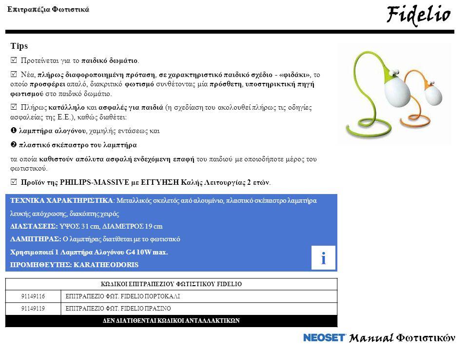 Fidelio i Manual Φωτιστικών Tips Επιτραπέζια Φωτιστικά