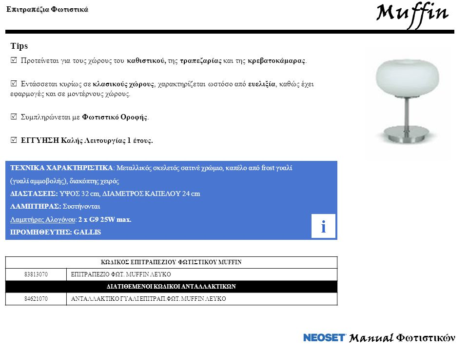 Muffin i Manual Φωτιστικών Tips Επιτραπέζια Φωτιστικά