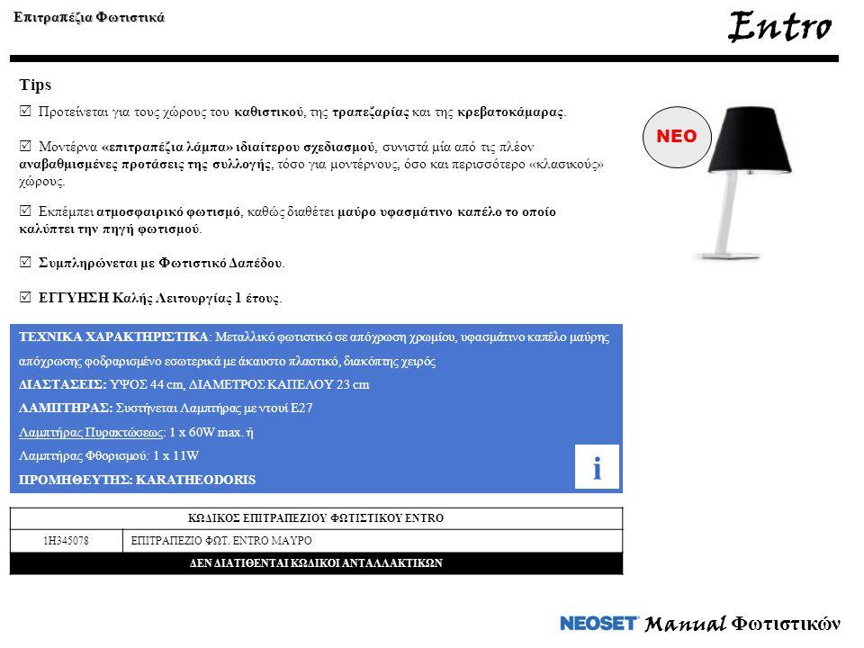 Entro i Manual Φωτιστικών Tips NEO Επιτραπέζια Φωτιστικά