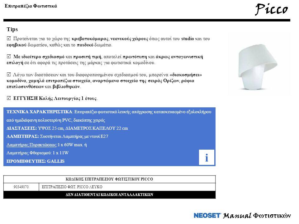 Picco i Manual Φωτιστικών Tips Επιτραπέζια Φωτιστικά