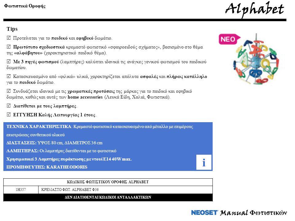 Alphabet i Manual Φωτιστικών Tips Φωτιστικά Οροφής