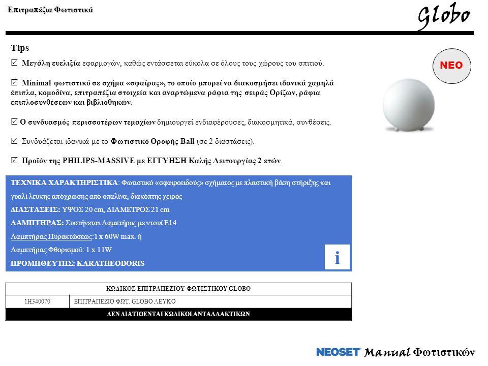 Globo i Manual Φωτιστικών Tips NEO Επιτραπέζια Φωτιστικά