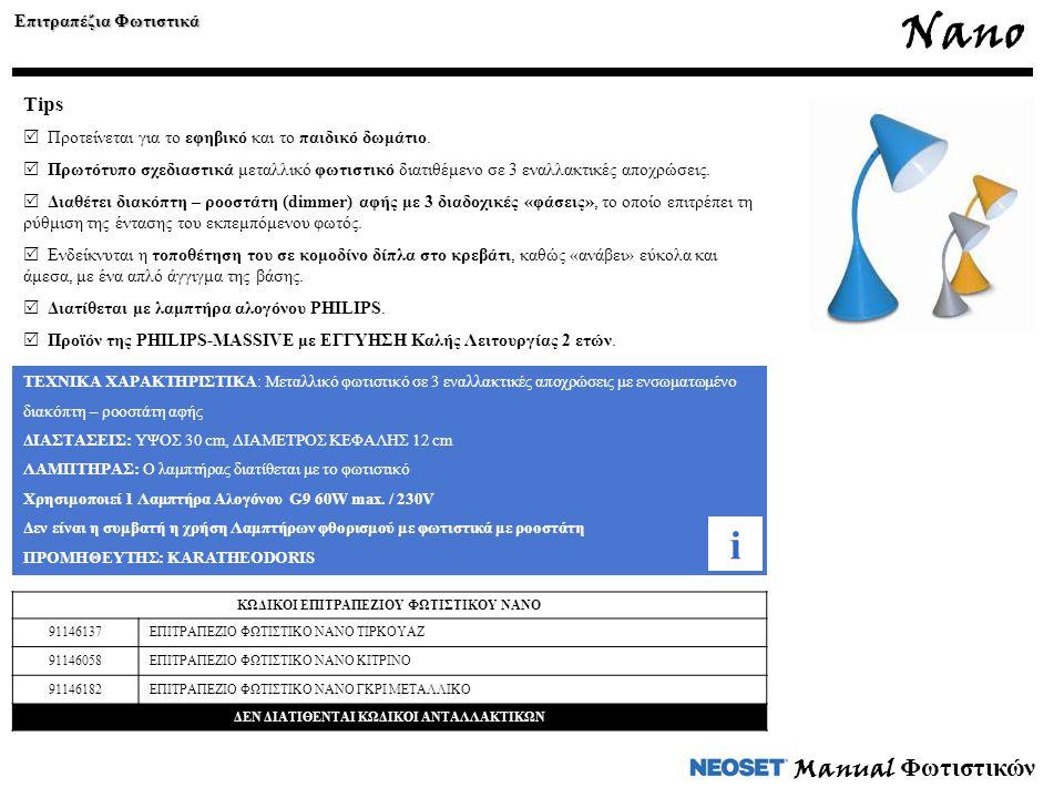 Nano i Manual Φωτιστικών Tips Επιτραπέζια Φωτιστικά