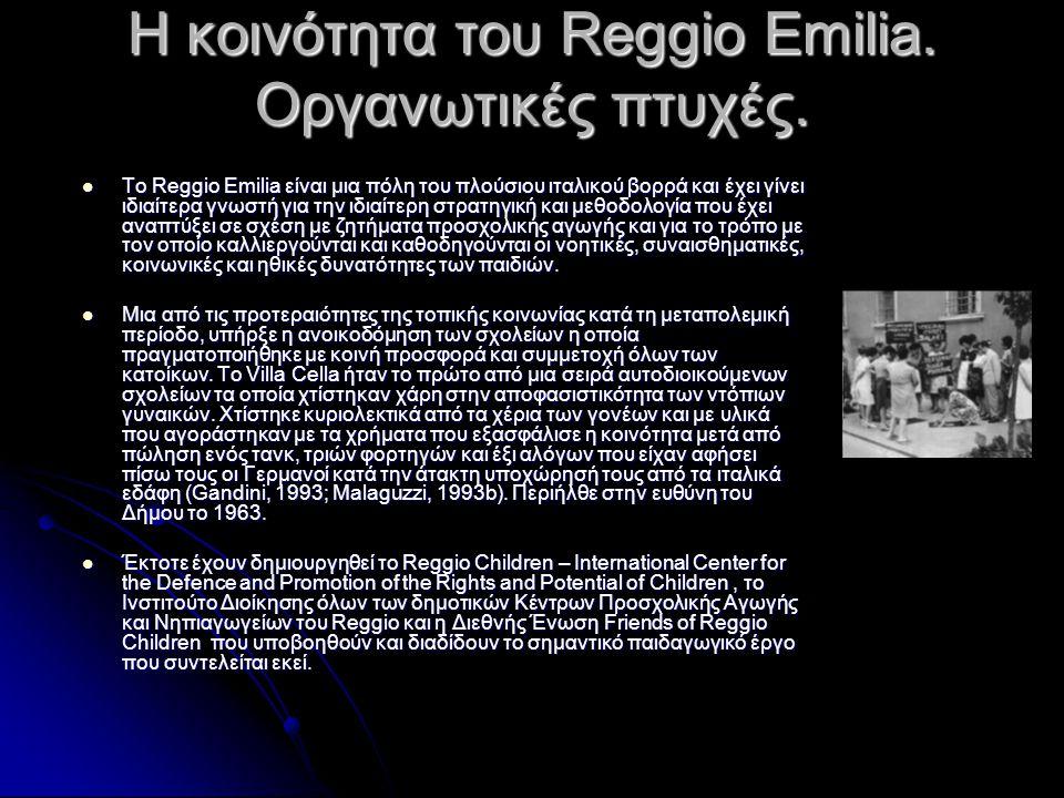 Η κοινότητα του Reggio Emilia. Οργανωτικές πτυχές.