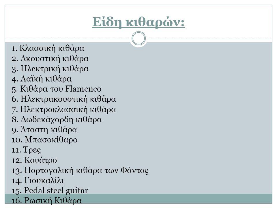Είδη κιθαρών: