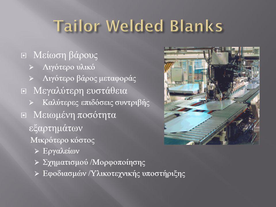 Tailor Welded Blanks Μείωση βάρους Μεγαλύτερη ευστάθεια