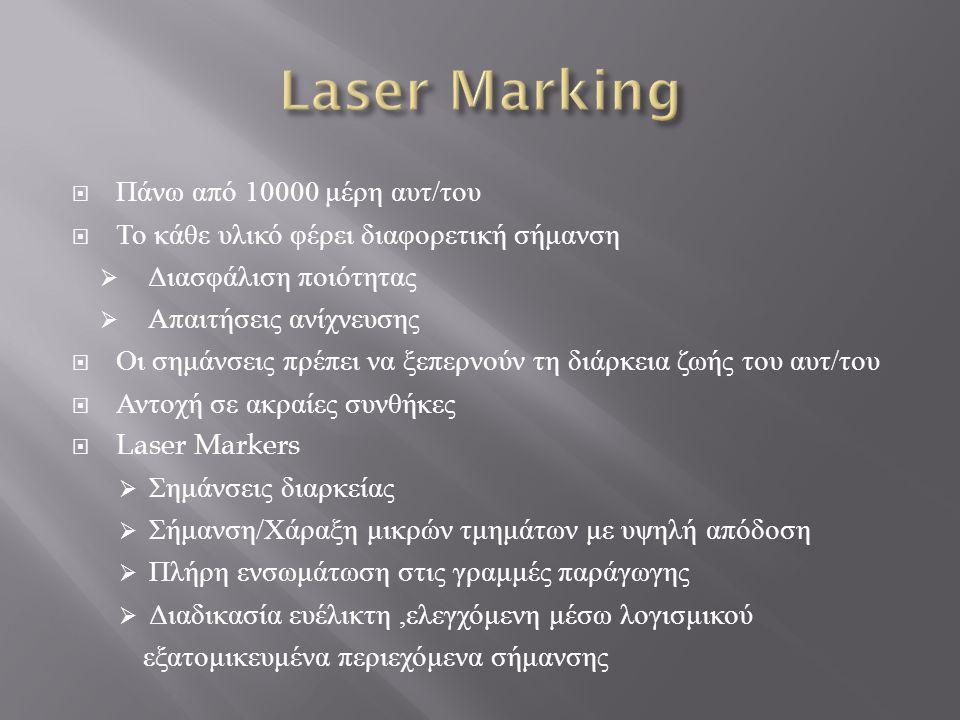 Laser Marking Πάνω από 10000 μέρη αυτ/του