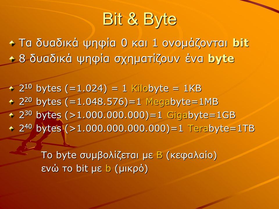 Bit & Byte Τα δυαδικά ψηφία 0 και 1 ονομάζονται bit