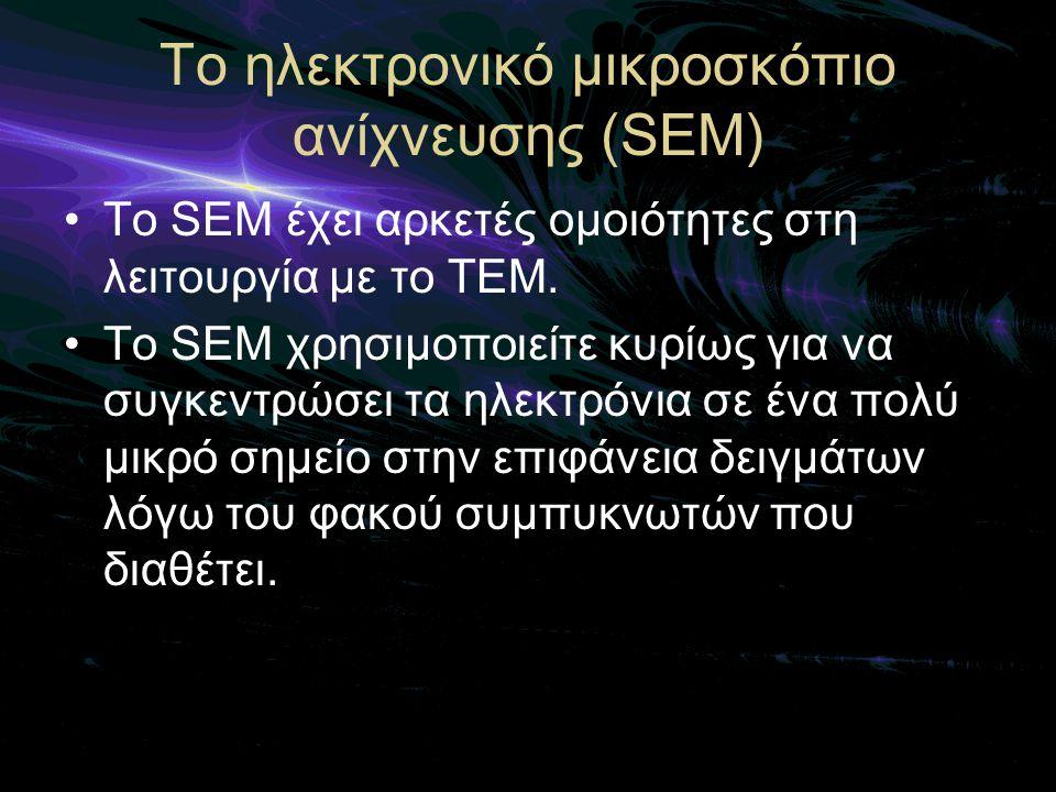 Το ηλεκτρονικό μικροσκόπιο ανίχνευσης (SEM)