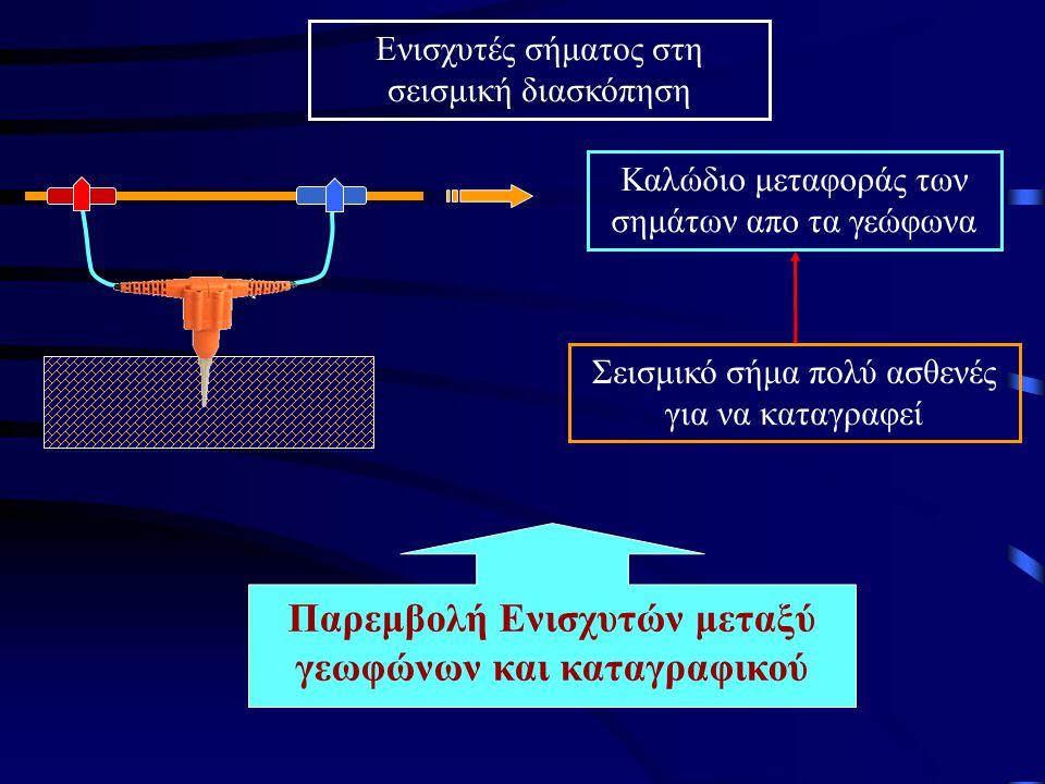 Παρεμβολή Ενισχυτών μεταξύ γεωφώνων και καταγραφικού