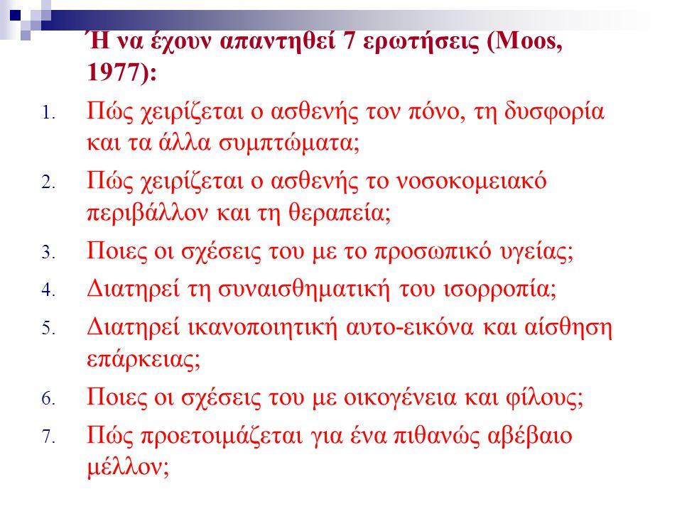 Ή να έχουν απαντηθεί 7 ερωτήσεις (Moos, 1977):