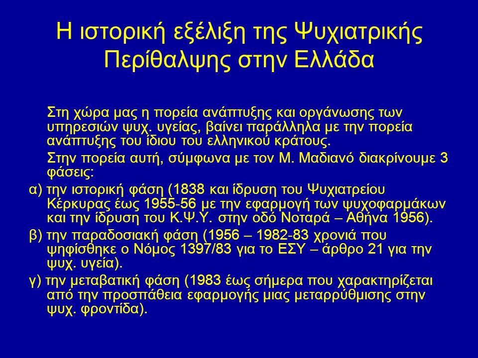 Η ιστορική εξέλιξη της Ψυχιατρικής Περίθαλψης στην Ελλάδα