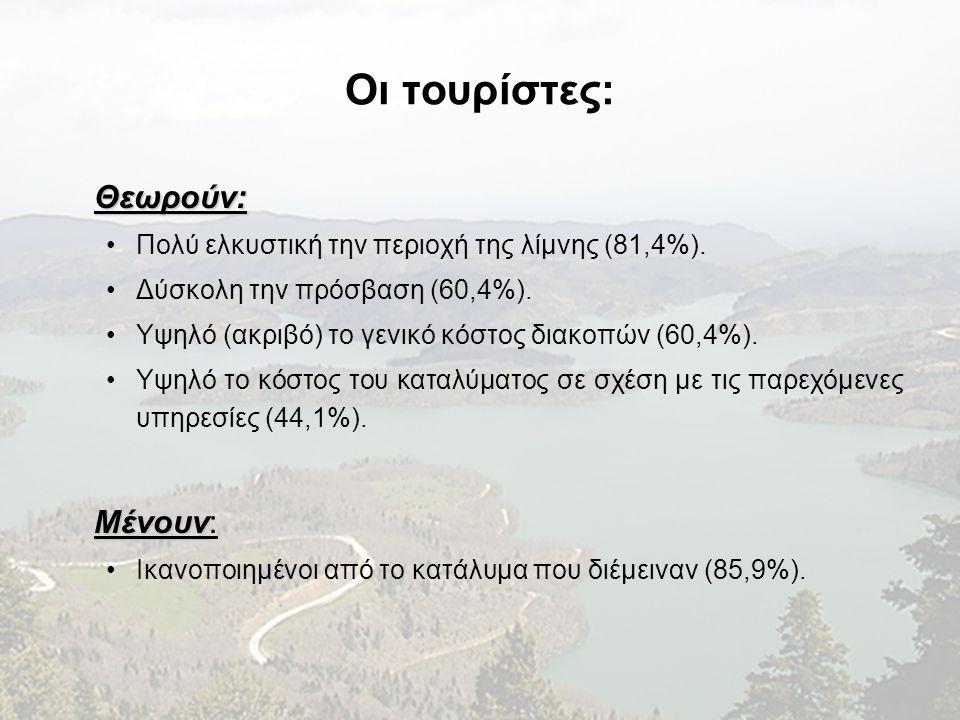 Οι τουρίστες: Θεωρούν: Μένουν: