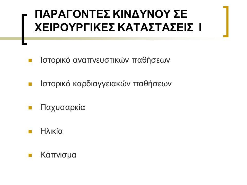 ΠΑΡΑΓΟΝΤΕΣ ΚΙΝΔΥΝΟΥ ΣΕ ΧΕΙΡΟΥΡΓΙΚΕΣ ΚΑΤΑΣΤΑΣΕΙΣ Ι