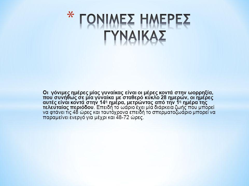 ΓΟΝΙΜΕΣ ΗΜΕΡΕΣ ΓΥΝΑΙΚΑΣ