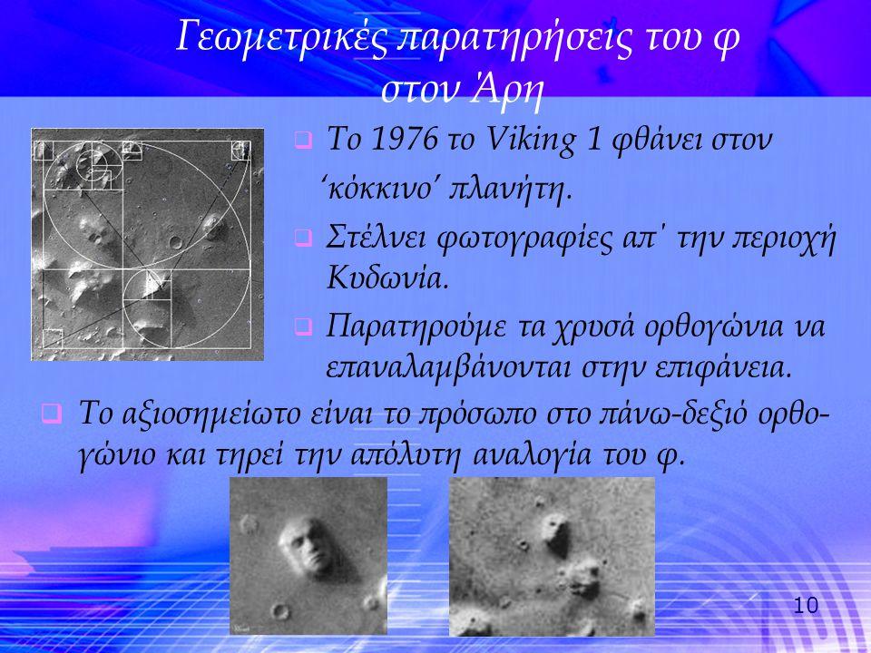 Γεωμετρικές παρατηρήσεις του φ στον Άρη