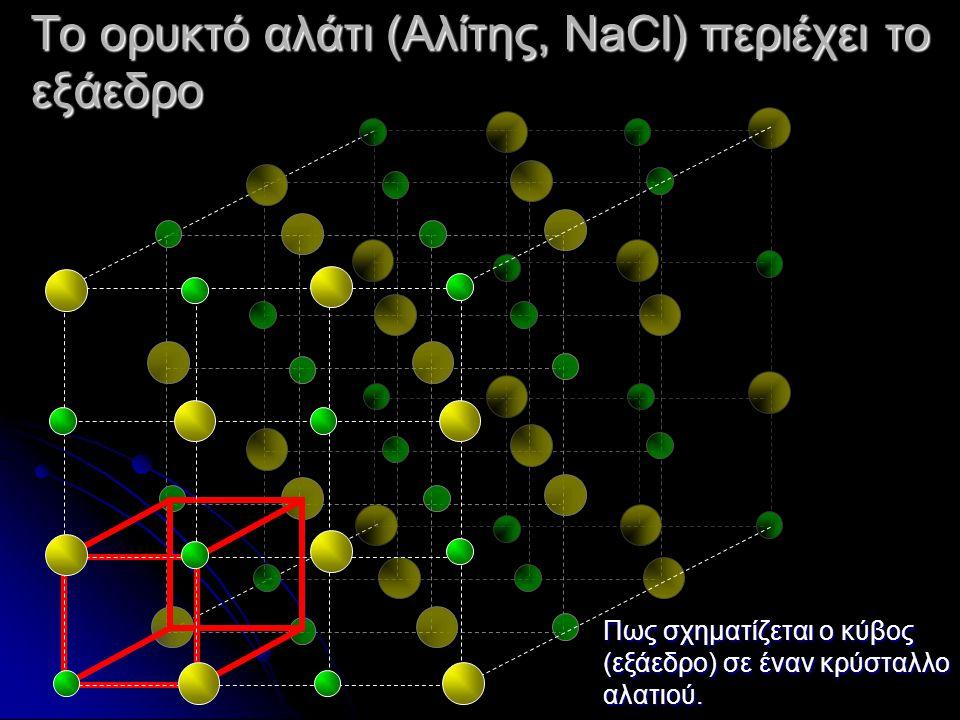 Το ορυκτό αλάτι (Αλίτης, NaCl) περιέχει το εξάεδρο