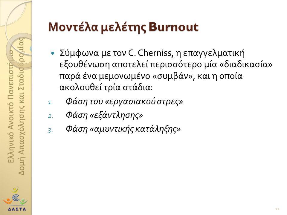 Μοντέλα μελέτης Burnout