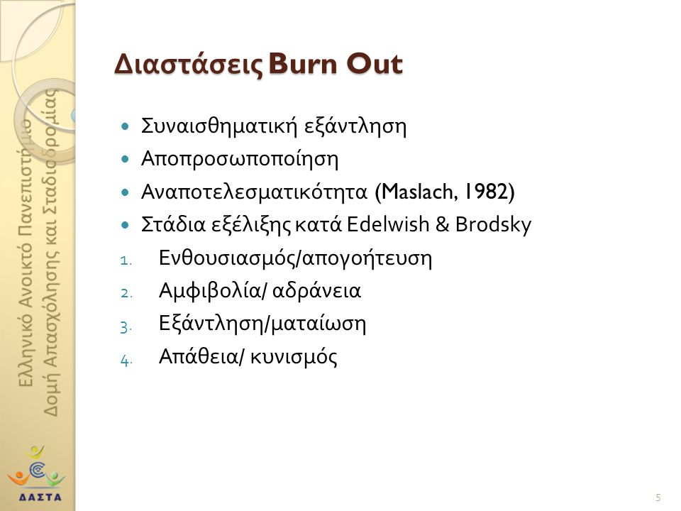 Διαστάσεις Burn Out Συναισθηματική εξάντληση Αποπροσωποποίηση