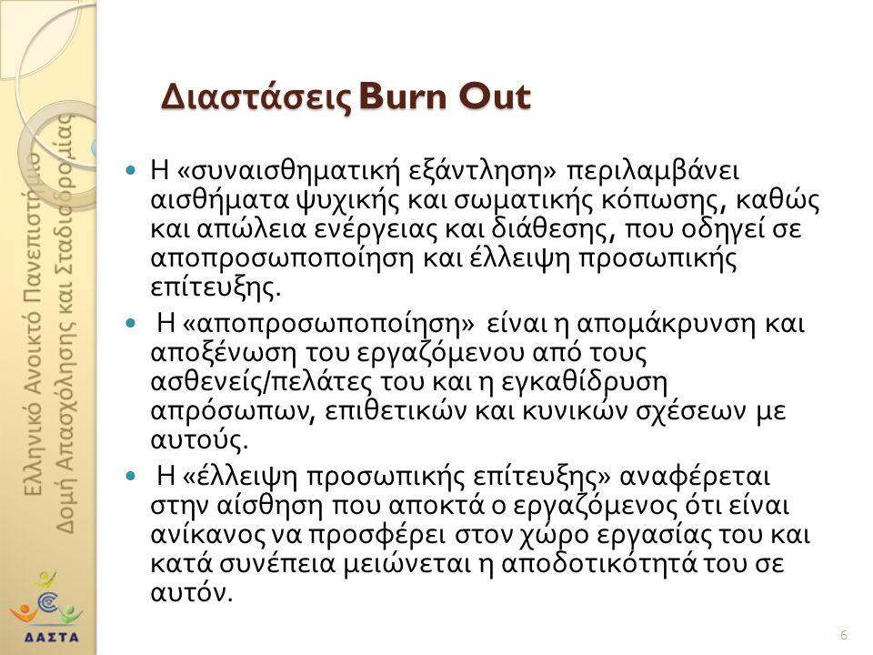 Διαστάσεις Burn Out