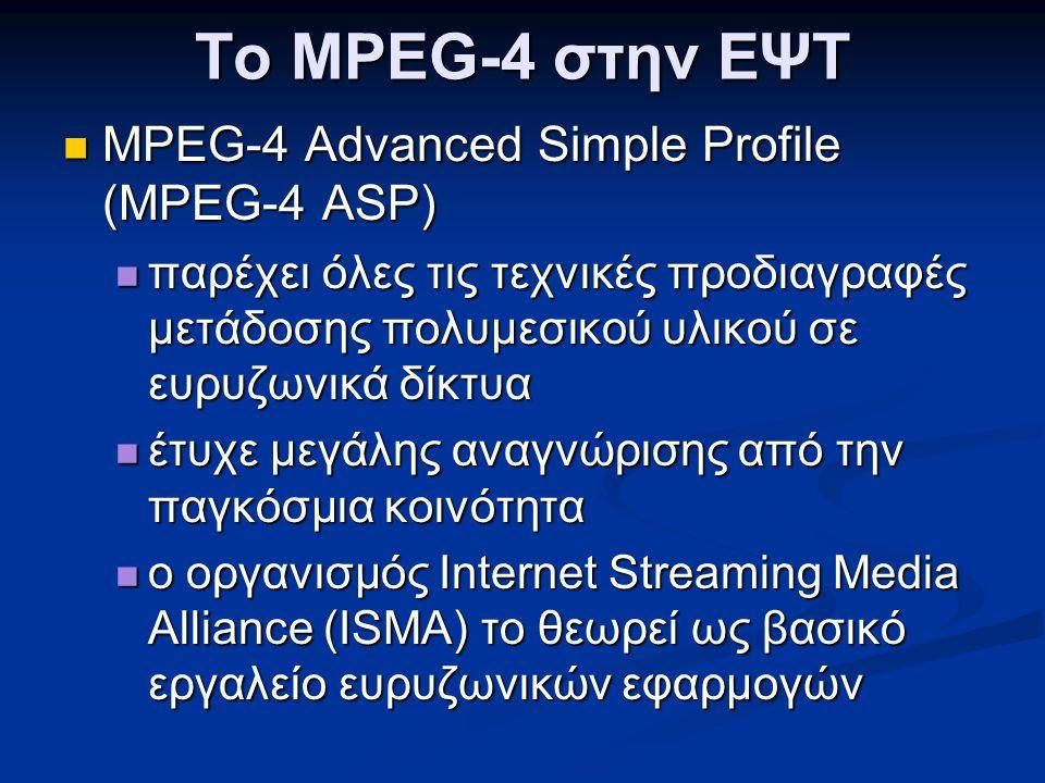Το MPEG-4 στην ΕΨΤ MPEG-4 Advanced Simple Profile (MPEG-4 ASP)