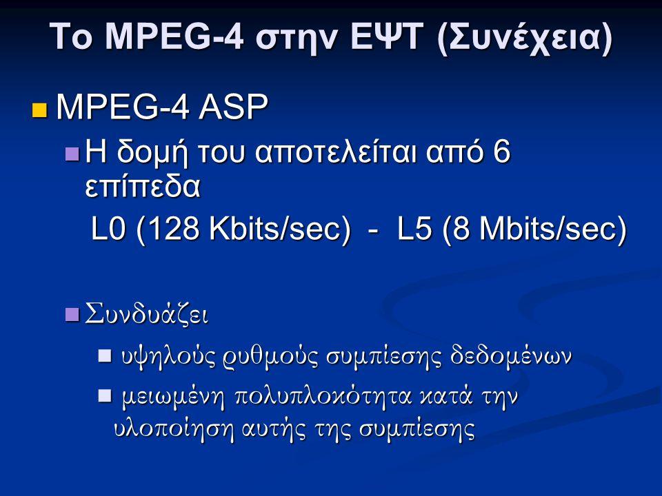 Το MPEG-4 στην ΕΨΤ (Συνέχεια)