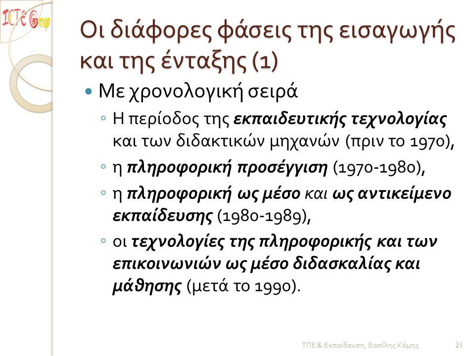 Οι διάφορες φάσεις της εισαγωγής και της ένταξης (1)