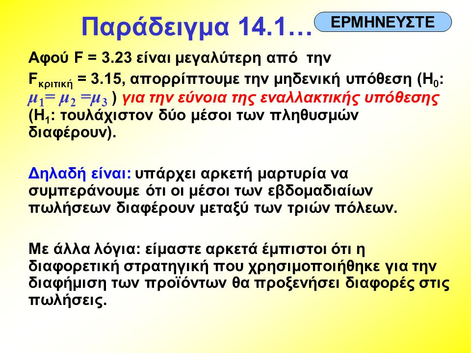 Παράδειγμα 14.1… ΕΡΜΗΝΕΥΣΤΕ Αφού F = 3.23 είναι μεγαλύτερη από την