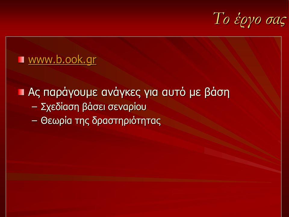 Το έργο σας www.b.ook.gr Ας παράγουμε ανάγκες για αυτό με βάση