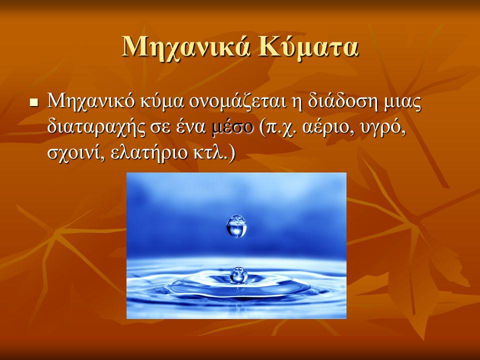 Μηχανικά Κύματα Μηχανικό κύμα ονομάζεται η διάδοση μιας διαταραχής σε ένα μέσο (π.χ.