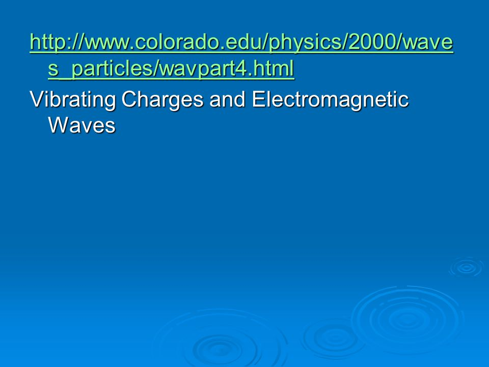 http://www.colorado.edu/physics/2000/waves_particles/wavpart4.html Vibrating Charges and Electromagnetic Waves.