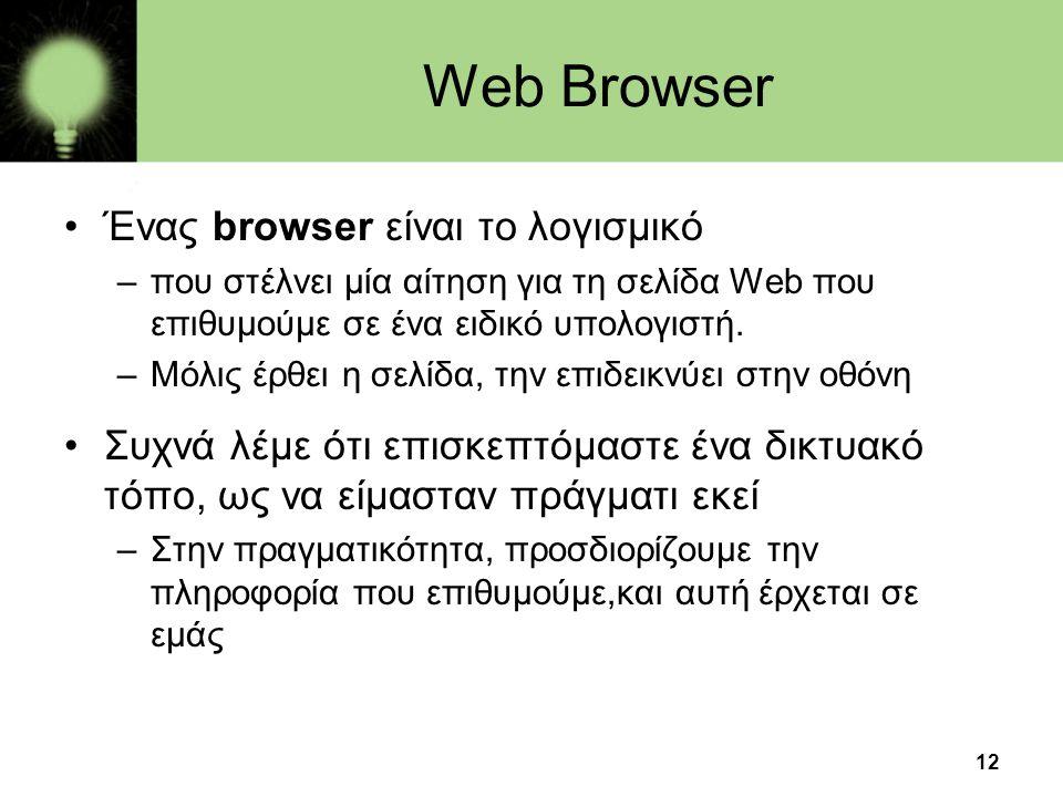 Web Browser Ένας browser είναι το λογισμικό