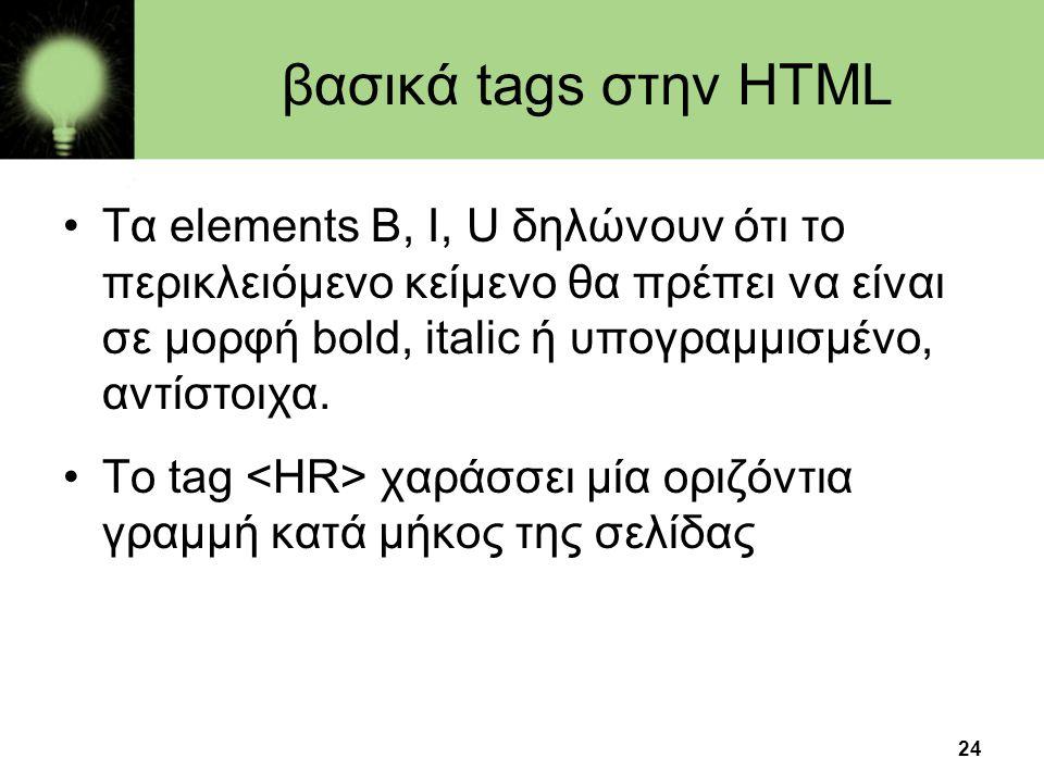βασικά tags στην HTML