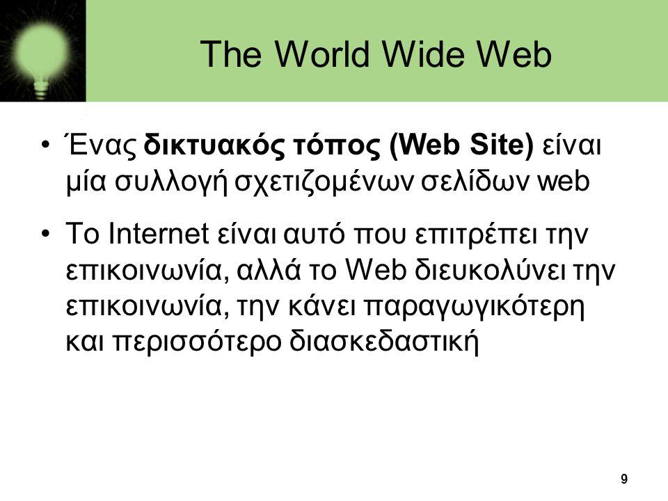 The World Wide Web Ένας δικτυακός τόπος (Web Site) είναι μία συλλογή σχετιζομένων σελίδων web.