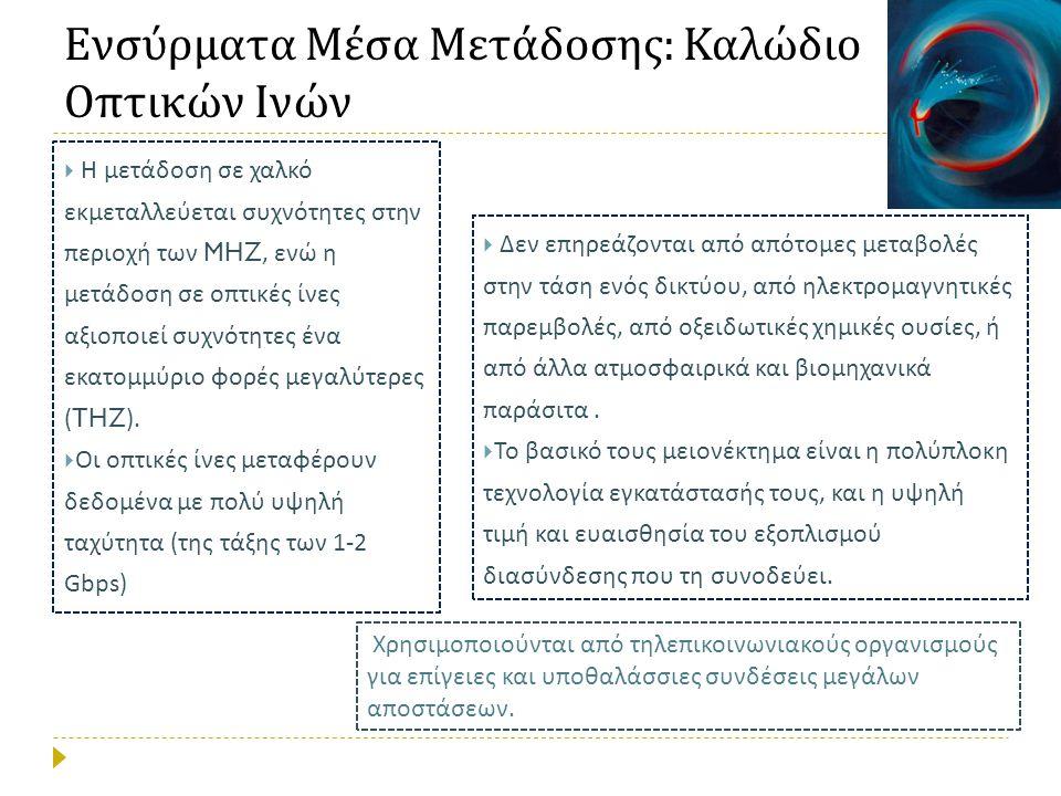 Ενσύρματα Μέσα Μετάδοσης: Καλώδιο Οπτικών Ινών