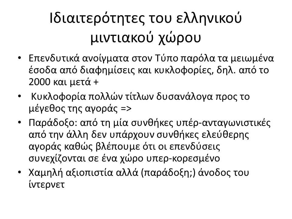 Ιδιαιτερότητες του ελληνικού μιντιακού χώρου