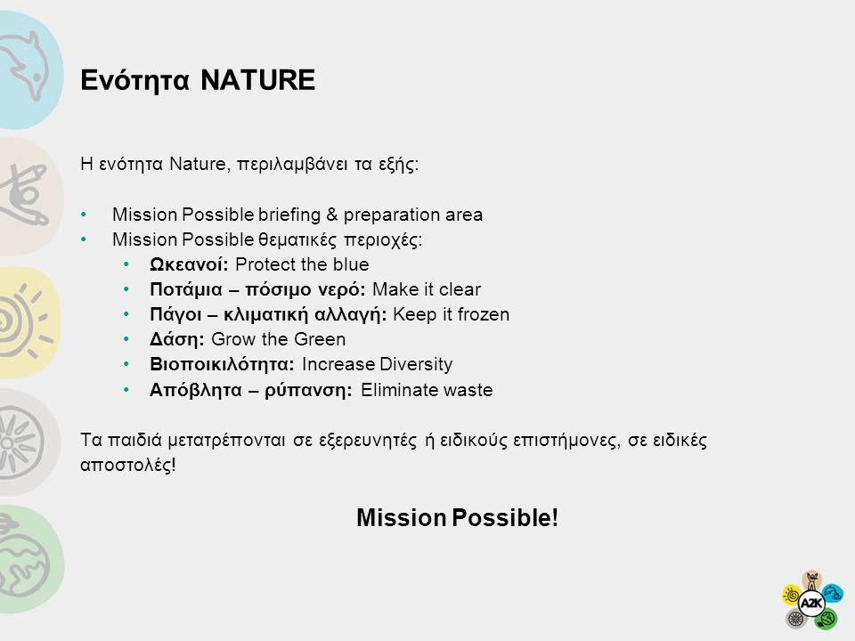 Ενότητα NATURE H ενότητα Nature, περιλαμβάνει τα εξής: