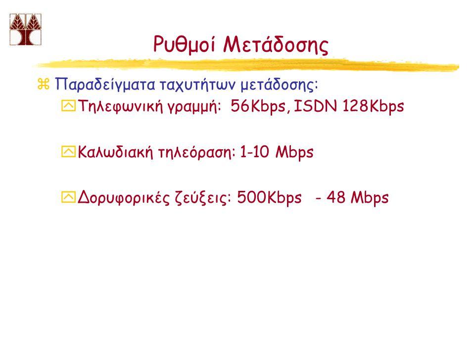 Ρυθμοί Μετάδοσης Παραδείγματα ταχυτήτων μετάδοσης: