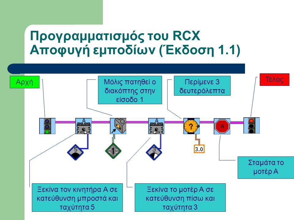 Προγραμματισμός του RCX Αποφυγή εμποδίων (Έκδοση 1.1)